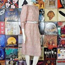 Vintage 70s Moulin Rouge Semi Sheer Midi Sheath Dress Blush Pink Floral 3/4  Photo