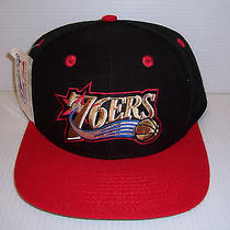 Vintage 76ers Snapback Hat One Size by Twins Enterprises Inc. Black/red Nwt  Photo