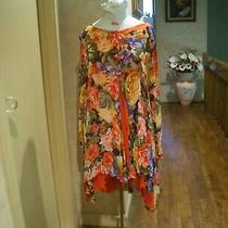 Vintage 80's Gottex Floral Semi Sheer  Beach Swimsuit Cover Up Sz. Small Photo