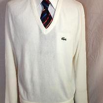Vintage 80's Izod Lacoste Men White Orlon Knit v-Neck Alligator Logo Sweater L Photo