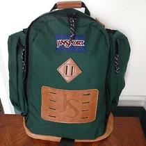 Vintage 80's Jansport Leather Bottom & Logo Dark Green Canvas Backpack Daypack Photo