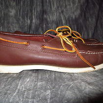 Vintage 80's Minnetonka Brown Leather Deck Boat Shoes 9.5 Photo