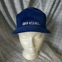 Vintage 80's Offical Referee Umpire Coach Dad Hat Blue Suede Teal Snapback Mt Photo