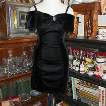 Vintage 80's Rampage Black Velvet Cocktail Formal Dress 5 Photo