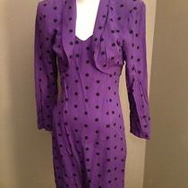 Vintage 80's Rampage Purple & Black Polka Dot Rayon Mini Dress & Bolero Photo