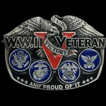 Vintage 80 Wwii Veteran Us Usn Usmc Usaf Navy Army Air Force Marine Belt Buckle Photo