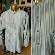 Vintage 80s 90s Burton Cotton Stripe Grandad Shirt M Hippie Folk Grunge Photo