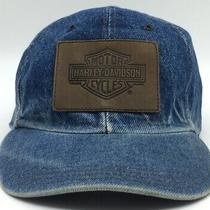 Vintage 80s-90s Denim Harley Davidson Denim Leather Patch Trucker Hat Usa Strap Photo