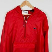 Vintage 80s 90s Lacoste Red Hoodie Windbreaker Jacket Men's L/xl Tall Fit Photo
