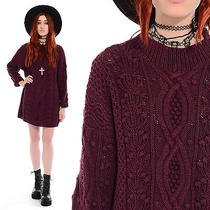 Vintage 80s 90s Wine Cable Knit Chunky Grunge Oversize Jumper Sweater Mini Dress Photo