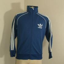 Vintage 80s Adidas Trefoil Full Zip Up Track Blue White Stripes Jacket S/m Photo