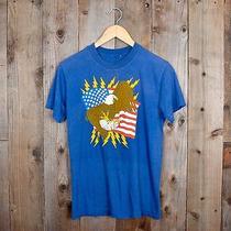 Vintage 80s American Flag Bald Eagle Lightning Bolts Small Medium T-Shirt Photo