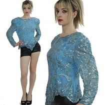 Vintage 80s Art Deco Silk Sequin Encrusted Beaded Party Dress Top Shirt Cocktail Photo
