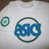 Vintage 80s Asics Cycling Bicycle Biking Indie T Shirt W/ Back Pockets Mens L Photo