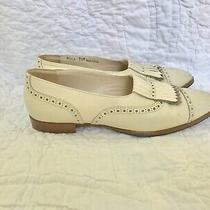 Vintage 80s Bally Loafers / Size 7.5 / Ivory Perforated Fringe Toe Women's Flats Photo