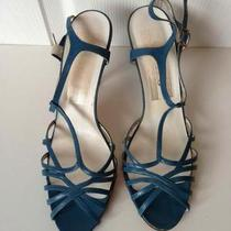 Vintage 80s Blue Strappy Sandals by Sashes Sz 8 E5 Photo