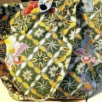 Vintage 80s Cotton Batik Ethnic Floral Indonesia Lined Tote Bag Hobo Photo