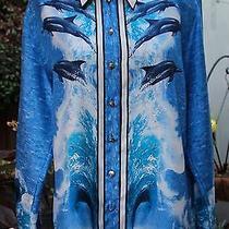 Vintage 80s Escada Margaretha Ley Silk Blue Dolphins Blouse Dolphin Button 40/10 Photo