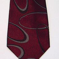Vintage 80s Gianni Versace Woven Silk Neck-Tie Elliptical Ring Design Hand Made Photo
