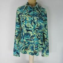 Vintage 80s Guess Jeans Womens X-Large Teal Blue Navy Yellow Button Front Shirt Photo