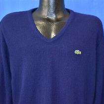 Vintage 80s Izod Lacoste Dark Blue v Neck Crocodile Men's Sweater Large L Photo