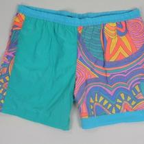 Vintage 80s Jantzen Retro Aqua Green Electo Shorts Xl 44 Photo