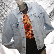 Vintage 80s Levi's Jean Jacket Faded Denim Distressed Worn Grunge Motorcycle L Photo