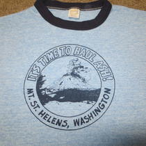 Vintage 80s Mt. St. Helens Washington Heather Blue Rayon Ringer T Shirt Small Photo