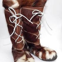 Vintage 80s 'Pichette' Cowhide & Leather Faux Fur Lined Boots France Sz 9 Boho Photo