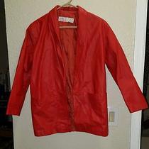 Vintage 80s Red Leather Avon Fashions Jacket Xs Motorcycle Punk Grunge   Photo