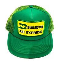 Vintage 80s Snapback Trucker Hat Burlington Air Express Flying Patch Cap Green Photo
