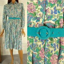 Vintage 80s Turquoise Aqua Teal Shirt Waist Dress Pleated Paisley Belt Size 6 Photo