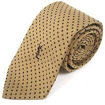 Vintage 80s Ysl Yves Saint Laurent Logo Silk Polka Dot Brown Neck Tie Photo