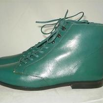 Vintage 9 West Ankle Boot Turquoise Green Leather Lace Up Granny Grunge 5.5 M Photo