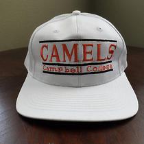 Vintage 90's Camels Campbell University the Game Snapback Hat Cap Wht/org/blk Photo