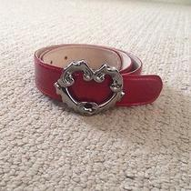 Vintage 90's Escada Metal Red Lacquer Leather Belt Silver Heart Buckle Italy 38 Photo