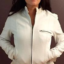 Vintage 90's Express White Leather Motorcycle Jacket - Small Photo