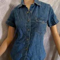Vintage 90's Gap Blue Denim Short Sleeve Fitted Top Blouse   Xs  Photo