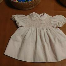 Vintage 90's Girls Smocked Dress Pale Blush Pink Print 12 Mos Petit Ami Photo