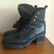 Vintage 90's Grunge Chunky Black Genyine Leather Distressed Boots Lace Up Sz 40 Photo