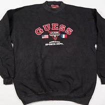 Vintage 90's Gues S Hip Hop Rap Black Sweatshirt Crewneck Xl Throwback Photo