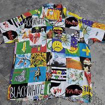 Vintage 90's Moschino Jeans Shirt L Rayon Full Print Aloha Hawaii Primo Hip Hop Photo