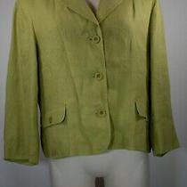 Vintage 90's Talbots Chartreuse Irish Linen Blazer Sz 14 Photo
