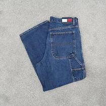 Vintage 90s Tommy Hilfiger Blue Jeans Straight Leg Carpenter Denim Men's 36x30 Photo