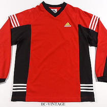 Vintage 90s Adidas 3 Stripe L/s Soccer Futbol Athletic Jersey Shrit Red 17173 Photo