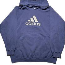 Vintage 90s Adidas Mens Sz L Big Center Logo Embroidered Hoodie Sweatshirt Blue Photo