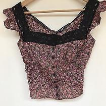 Vintage 90s Betsey Johnson Floral Cotton Pesant Corset Lace Crochet Blouse Top Photo