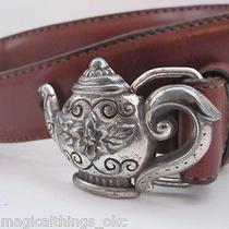 Vintage 90s Brighton Brown Leather Silver Teapot Hardware Belt - Size M Photo
