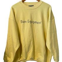 Vintage 90s Bum Equipment Sweatshirt Embroidered Logo Deadstock Sz Large Yellow Photo