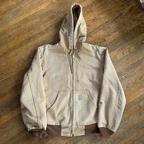 Vintage 90s Carhartt J131 Duck Thermal Lined Work Hooded Jacket Size S Usa Made Photo
